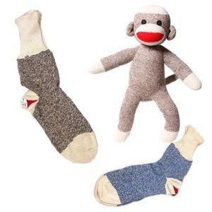 Vintage Red Heel Sock Monkey Rockford Socks